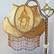 """ANTIQUE TABLE LAMP & SHADE, by Kathleen Caid """"DEER MOTIFF"""" 30"""" T X 17"""" W"""
