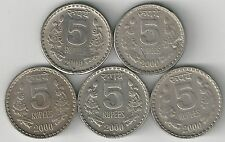 5 DIFFERENT 5 RUPEE COINS from INDIA (ALL 2000 with MINT MARKS of B/C/H/N/R)