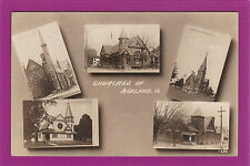 OH686 Multi View of Churches in Ashland, Ohio, OH, Vintage Real Photo Postcard