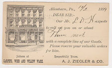 US GOVERNMENT POSTAL CARD PC 1899 ALLENTOWN PA ADVERTISING A. J. ZIEGLER