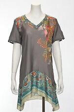 Johnny Was Collection Silk Short Sleeve Basic Tunic, S