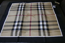 New Authentic Women's Burberry Medium Beige Check Black Border Silk Scarf