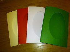 """4 Assorted 8x6"""" Card Blanks & Envelopes, Oval Aperture Cream/Red/White/Green"""