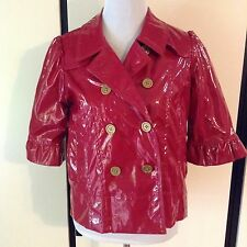 NWT Romeo & Juliet Couture Rain Jacket Short Bright Red Dbl Breasted Shiny Sz L