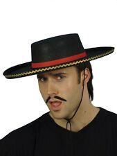 NERO ROSSO CAPPELLO SPAGNOLO UOMO MATADOR BULL Figher FANCY DRESS HAT