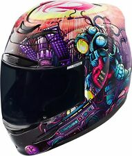 ICON AIRMADA HELMET SPACE BASS FACE WITH CLEAR + DARK SMOKE SHIELD ADULT LARGE