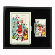 VINTAGE CHRISTMAS D24 CIGARETTE CASE / WALLET & LIGHTER GIFT SET OLD FASHIONED