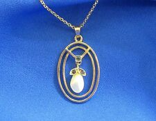 "European 9ct Gold Baroque Pearl Drop Pendant Nacklace with Original 18"" Chain"