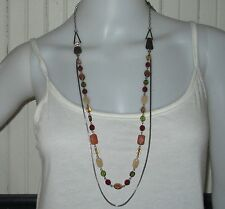 NYGARD designer signed bead chain multi color double strand necklace VGUC