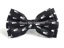 Unisex Skull & Crossbones Black and White Bow Tie - Brand New