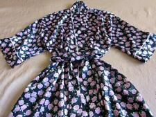 Vintage Christian Dior Long Slinky Satin Dressing Gown Robe S/M NEW Black Floral
