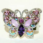 w Swarovski Crystal ~Purple Celebrity BUTTERFLY~ Party Cocktail Adjustable Ring