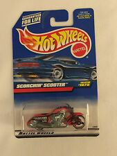 Red SCORCHIN' SCOOTER Motorcycle - 1998 Hot Wheels Die Cast Car - Mint on Card