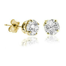 0.40CT Genuine Round Diamond Full cut Stud Earring Solid 14k Yellow Gold 90% off