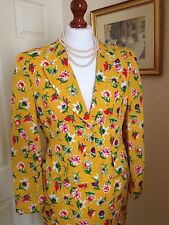 Authentic Christian Dior Vintage Yellow Floral Suit Dress Jacket Skirt FR38 UK10