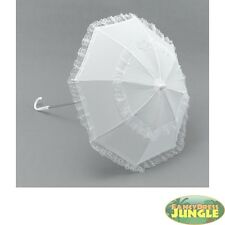 WHITE PARASOL VICTORIAN LADIES LACE LONG HANDLE - fancy dress accessories