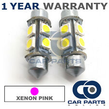 2X PINK CANBUS NUMBER PLATE INTERIOR 4 SUPER BRIGHT SMD LED BULBS 36MM 17PX2