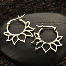 925 Sterling Silver Hoop Earrings Lotus Flower Petal Inset Geometric Design