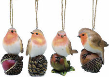 Set of 4 Robin Christmas Tree Ornaments NEW   19601