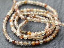 "2.4mm MICRO FACETED RUTILATED QUARTZ RONDELLES, 13"", 160 beads"