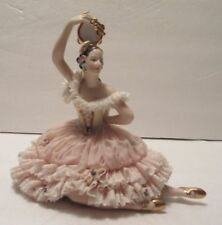 Dresden Lace Figurine, Flamingo Dancer, Pink Ruffled Costume, Gilded Shoes