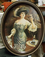 "Vintage Pepsi Cola Soda Pop Oval Metal Serving Tray Gibson Girl 11.5"" x 14.5"""
