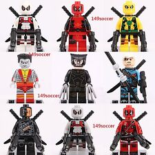 9Pcs Deadpool Colossus Deathstroke Wolverine Super Hero Custom Lego Minifigures