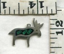 VINTAGE STERLING BRACELET CHARM~A MOOSE WITH A BIT OF MALACHITE INLAY~$12.99!!