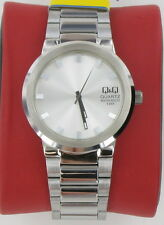 Mens Q&Q Watch by Citizen Polished Stainless Steel Silver Dial NICE!