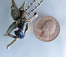 "PEWTER fairy TALISMAN PENDANT & 24"" necklace chain ~ Magic ~ Sprite ~ Faery"