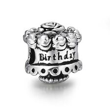 Happy Birthday Cake Style 925 Silver Bead Charms Fit Sterling European Bracelet