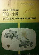 John Deere 110 112 Lawn Garden Tractor Snow Thrower Owner & Parts (3 Manuals 72p