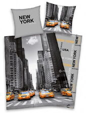 New York Big Apple Single Duvet Cover Bed Set New Gift USA Taxi Iconic Photo