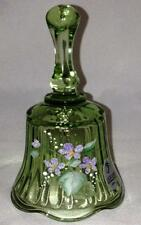 Fenton Lt Green Bell Hand Painted Violets Signed Brand New F757