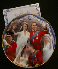 Prince William & Catherine Wedding Attire 4 Portrait Plate-Danbury Mint-COA