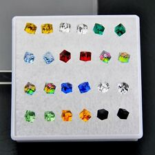 Mixed Color 12 Pairs Artificial Crystal Cube Earrings Wholesale ED49