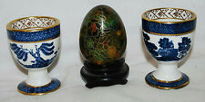 """PAIR OF CERAMIC 2.5"""" CHINESE EGG CUPS & 2.5"""" DECORATIVE EGG ENAMEL INLAY"""
