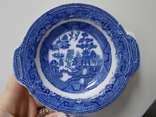 VINTAGE JOHN TAMS WARE STAFFOEDSHIRE BLUE+WHITE FINGER BOWL WILLOW PATTERN(ref51