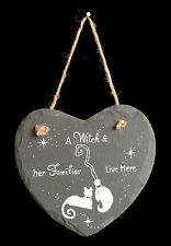 Witches Slate Heart Hanging Sign  Witch Pagan Wiccan Gift Home Witches Cat
