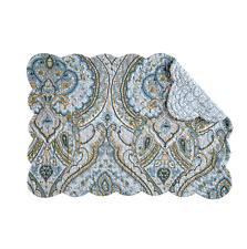 AMHERST BLUE Quilted Reversible Placemat by C&F -  Blues, Green, Tan, White