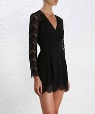 Zimmermann Crepe Lace Tuck Playsuit Black Size 0 Aus 8
