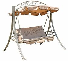 FoxHunter FHSC07 Garden Swing Hammock 3 Seater Chair Bench Outdoor Canopy Beige