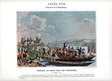 Stampa antica RIVOLUZIONE FRANCESE 1792 PRUSSIANI PASSANO il RENO 1890 Old print