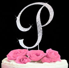 "Large Rhinestone Crystal Monogram Letter ""P""  Wedding Cake Topper  5"" inch high"