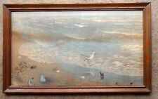 LOVELY VINTAGE WATER PAINTING OCEAN NAUTICAL SEASCAPE SAND PIPER BIRD SEASHELLS