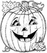 Rubber Stamp Happy Jack o'Lantern Smiling Pumpkin Fall Halloween Northwoods