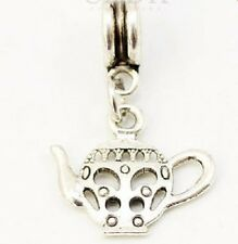 SILVER PLATED TEAPOT DANGLE CHARM BEAD