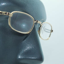 Folding Pocket Reading Glasses Mid Size Gold Metal Frame +3.50 Lens Strength