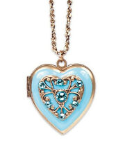 NEW  ANNE KOPLIK AQUA ENAMEL FILIGREE HEART LOCKET NECKLACE SWAROVSKI CRYSTAL