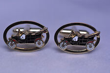 VINTAGE SHIELDS GOLD PLATED ENAMEL CUT-OUT OVAL CUFFLINKS OF ANTIQUE TOURING CAR